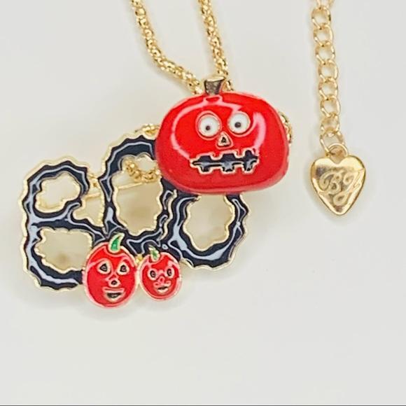 Betsey Johnson Style - Halloween Pumpkins Brooch/Pendant Necklace